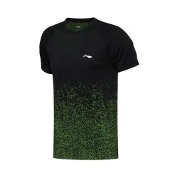 Футболка мужская для бадминтона (черн флуорисцент-салатовый) Li-NING AAYN181-2