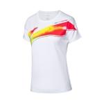 Футболка женская для бадминтона с принтом (белая) Li-NING AHSQ158-1