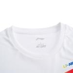 Футболка мужская для бадминтона тренировочная с принтом (белая) Li-NING AHSQ309-1