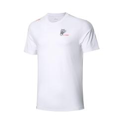 Футболка мужская для бадминтона тренировочная с принтом (белая) Li-NING AHSQ533-1