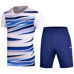 Комплект мужской шорты с футболкой (белый синий) Li-NING AATM033-6