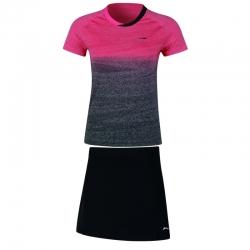 Комплект женский юбка с футболкой (розовый черный) Li-NING AATN018-4