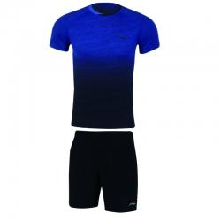 Комплект мужской шорты с футболкой (синий черный) Li-NING AATN051-2